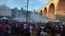 Fans celebrate England win at Mansfield pub