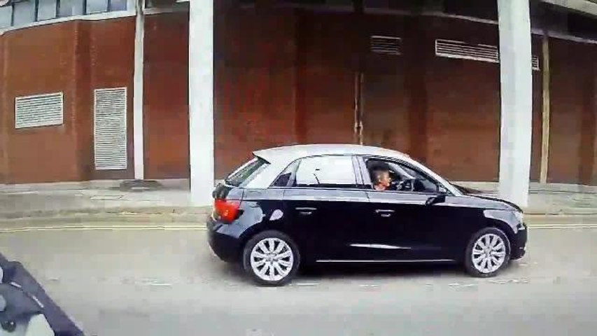Woman drives the wrong way down Mansfield's one way system.