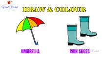 Umbrella and Rainshoes Drawing for kids | How to Draw Umbrella for children | Art Breeze # 22 | Learn Drawing and Colouring for kids | Viral Rocket
