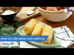 Huong dan cach lam Banh mi cuon khoai lang chien x