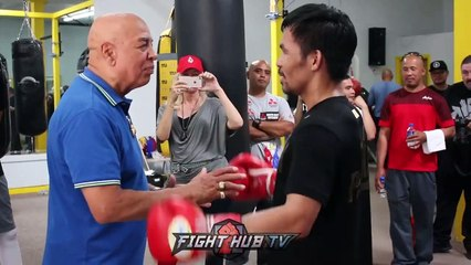 JOE CORTEZ GIVES PACQUIAO ADVICE ON THURMAN FIGHT, PACQUIAO HAS EYE OF THE TIGER part 1/2