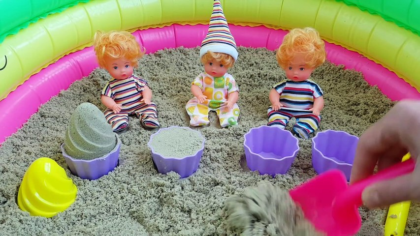 Learn Colors with Baby Born Doll & Sand Molds video for kids