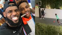 Bronny James & Shareef O'Neal Have A Dunk Off In Lebron's Yard As He Secretly Films It All