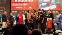 Pacquiao, Thurman weigh-in staredown