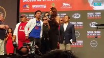 Manny Pacquiao speaks after making weight for Keith Thurman fight