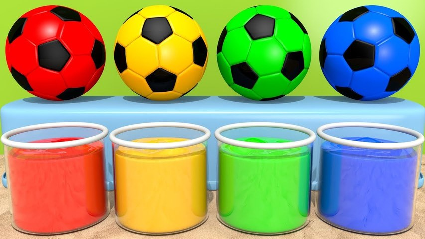 Learn Colors with Squish Ball Magic Liquids and Surprise Soccer Ball Sand Toy Playground for Kids