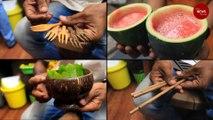 Tried juice served in fruit shells or noodles in earthen pots?