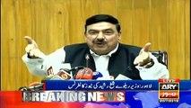 Minister for railways Sheikh Rasheed Ahmed addresses media