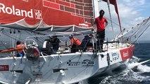 Le skipper Alan Roura, recordman de l'Atlantique Nord en solitaire, arrive au Port du Château