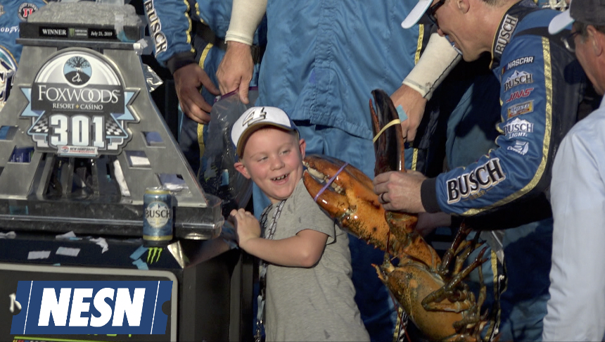 Kevin Harvick's Son Kisses Giant Lobster After Dad Wins Foxwoods 301