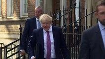 Boris Johnson arrives at campaign headquarters in London