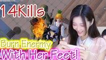 刺激战场:有钱女玩家企图用火焰鞋烧死敌人14杀【柔柔】和平精英PUBG Mobile