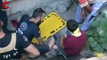Bisikletli çocuk, 2 buçuk metrelik boşluğa düştü