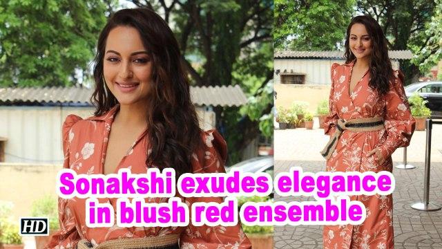 Sonakshi exudes elegance in blush red ensemble