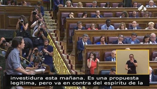 """Iglesias pide a Sánchez que """"disimule un poco"""" por pedir la abstención de PP y Cs"""