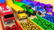 Learn Colors with Street Vehicles and Surprise Soccer Ball in Colored Pipe Pretend Play for Kids