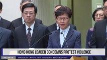 Hong Kong leader condemns protest violence