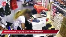 Sultangazi'de sahte parayla alışveriş yapan kadın kamerada