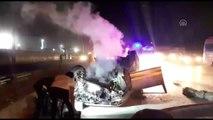 Kocaeli'de takla atan otomobil yandı: 1 ağır yaralı