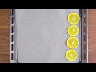 Lege 4 Orangenscheiben aufs Blech. Nach 90 Min wirst du große Augen machen!