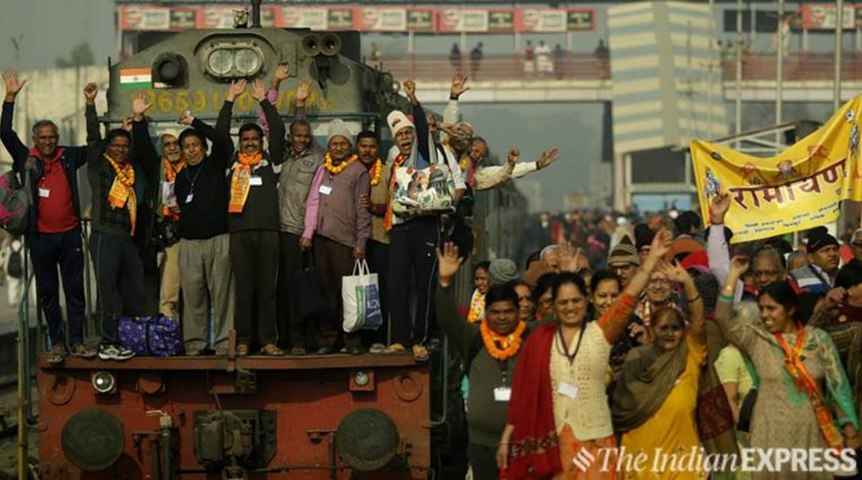 On board The Ramayan Express, there are bhajans, chants of Jai Shri Ram and more