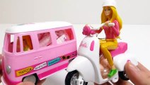 Barbie Vespa Scooter & Pinky VW Bully Van Toy with Candy