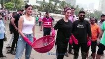 Esha gupta And Naveli Deshmukh At Dadar Beach For Celebrates 100th Week Of Dadar Beach Cleanup