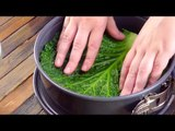 Line The Cake Pan With Green Leaves & And Then It's So Simple – Yummy!