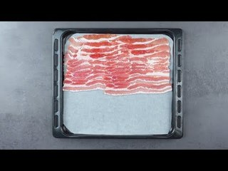 Place 20 Slices Of Bacon On A Baking Tray. After 15 Mins, It'll Be Extra Crispy In The Oven.