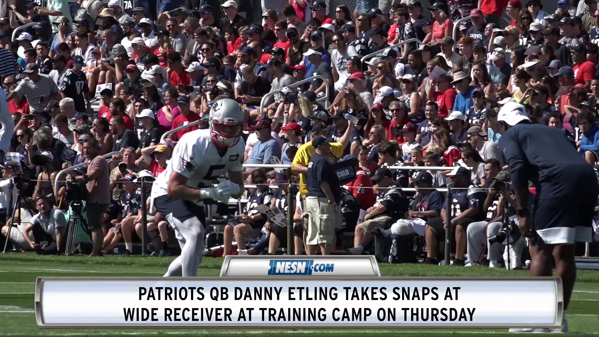 Patriots QB Danny Etling Takes Snaps At Wide Receiver In Training Camp