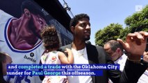 Kawhi Leonard and Paul George Introduced at Clippers Press Conference