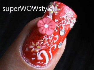 Red Flowers! - Fimo Cane Nail Designs