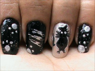 The Cat Detective - Black n White Nail Art
