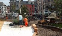 Mons: flâner dans je jardin éphémère face à l'hôtel de ville