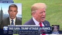 """Contre la taxe GAFA en France, Donald Trump parle de la """"stupidité de Macron"""" et menace de représailles"""