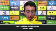 (Subtitled) Bernal in tears after snatching yellow jersey