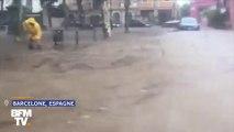 Des trombes d'eau transforment les rues de Barcelone en rivières