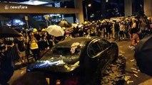 Hong Kong protesters smash up car in Yuen Long