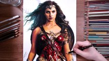 Drawing Wonder Woman (Gal Gadot) - speed drawing - drawholic