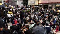 Protesters occupy a street in Hong Kong's Causeway Bay shopping district