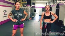 Cris Cyborg trains with Valentina Shevchenko (Bullet Muay Thai) ahead of UFC 232