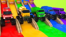 Learn Colors with Monster Street Vehicle VS Play Doh Magic Slide Pretend Play for Kids