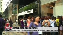 Credit cards lost while traveling should be reported to local police