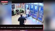 New York : Un homme armé d'un couteau pénètre dans un commissariat (Vidéo)