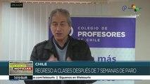 Profesores regresan a clases en Chile tras 7 semanas de paro