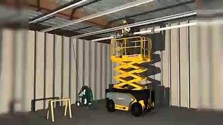 Tavana kablo çekimi işinde iş güvenliği animasyonu