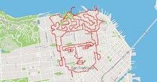 À San Francisco, un coureur dessine le visage de Frida Kahlo avec ses pieds et une carte !