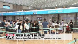 Sales of Japan flights down by 38% on-year amid trade spat