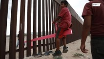 Border becomes backyard as Mexican kids and US playmates see-saw through fence