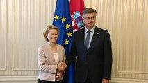 Ursula von der Leyen en visite à Zagreb en Croatie